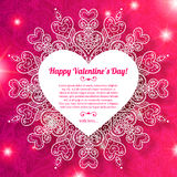 Δαντελλωτός χαιρετισμός καρδιών εγγράφου ημέρας του διανυσματικού βαλεντίνου Στοκ Εικόνα