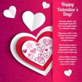 Δαντελλωτός χαιρετισμός καρδιών εγγράφου ημέρας του διανυσματικού βαλεντίνου Στοκ εικόνα με δικαίωμα ελεύθερης χρήσης