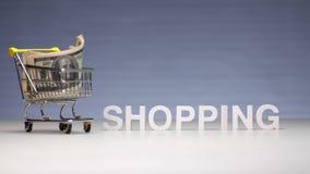 Δαπάνες μετρητών για τις αγορές στο κατάστημα Χρήματα αποβλήτων στις αγορές στο κατάστημα απόθεμα βίντεο