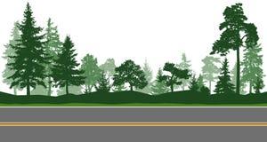 Δασικά δέντρα, οριζόντιος δρόμος Διανυσματικό Illustratio απεικόνιση αποθεμάτων