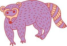 Δασικά ζωικά κινούμενα σχέδια ρακούν doodle απλά Στοκ Εικόνες