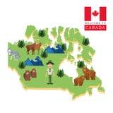 Δασικά ζώα Εικονίδιο του Καναδά Σχέδιο κινούμενων σχεδίων Colorfull illustrat Στοκ Εικόνες