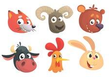 Δασικά ζώα κινούμενων σχεδίων επίσης corel σύρετε το διάνυσμα απεικόνισης Η αλεπού, πρόβατα, αντέχει, αγελάδα, κόκκορας ή κοτόπου ελεύθερη απεικόνιση δικαιώματος