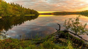 Δασική λίμνη στο ηλιοβασίλεμα Χρόνος-περιτυλίξεις απόθεμα βίντεο