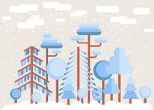 Δασική επίπεδη απεικόνιση χειμερινών δέντρων Στοκ Εικόνες
