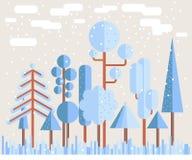 Δασική επίπεδη απεικόνιση χειμερινών δέντρων Στοκ φωτογραφίες με δικαίωμα ελεύθερης χρήσης
