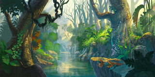 Δασική ζωγραφική φαντασίας διανυσματική απεικόνιση