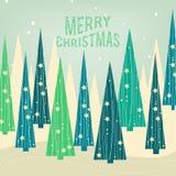 Δασική κάρτα Χριστουγέννων πεύκων ελεύθερη απεικόνιση δικαιώματος