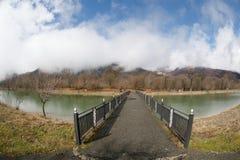 Δασική λίμνη με τη γέφυρα κατά τη διάρκεια της ηλιόλουστης ημέρας με τα χειμερινά δέντρα και τον μπλε νεφελώδη ουρανό Όμορφη φυσι Στοκ Φωτογραφία