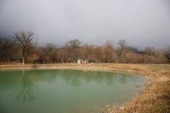 Δασική λίμνη με τη γέφυρα κατά τη διάρκεια της ηλιόλουστης ημέρας με τα χειμερινά δέντρα και τον μπλε νεφελώδη ουρανό Όμορφη φυσι Στοκ Φωτογραφίες