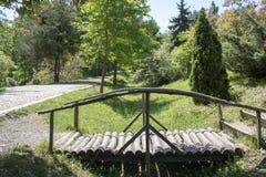Δασική ξύλινη γέφυρα ακρών του δρόμου στοκ φωτογραφία