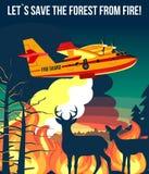 Δασική πυρκαγιά με τα αμφίβια αεροσκάφη πυρκαγιάς & ελάφια με το fawn που κοιτάζει στην αφίσα ή το έμβλημα απεικόνισης πυρκαγιών διανυσματική απεικόνιση