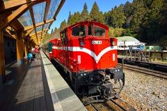 Δασική πλατφόρμα σιδηροδρομικών σταθμών Alishan Στοκ Εικόνες