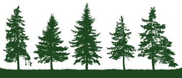 Δασική σκιαγραφία δέντρων έλατου Χριστούγεννα η διανυσματική έκδοση δέντρων χαρτοφυλακίων μου διανυσματική απεικόνιση