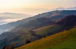 Δασικός λόφος στο μουντό πρωί φθινοπώρου στοκ εικόνες
