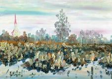 δασικός ποταμός ελαιογραφίας τοπίων Τοπίο άνοιξη με μια εκκλησία, μια λίμνη και τα δέντρα ελεύθερη απεικόνιση δικαιώματος