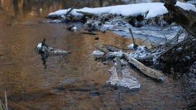 Δασικός ρέοντας όμορφος παγωμένος πάγος ποταμών σε έναν ξηρό κλάδο που ταλαντεύεται, φως του ήλιου φύσης, τοπίο έντονου φωτός ήλι Στοκ Φωτογραφία