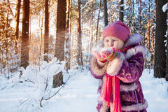 δασικός χειμώνας κοριτσιών Στοκ Εικόνες