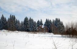 δασικός χειμώνας σπιτιών Στοκ φωτογραφία με δικαίωμα ελεύθερης χρήσης