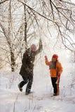 δασικός χιονώδης περίπατος Στοκ φωτογραφία με δικαίωμα ελεύθερης χρήσης