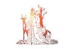 Δασικός druid με τη μακριά γενειάδα και ξύλινο προσωπικό, παλαιός μάγος, λύκος και ελάφια, σοφός μάγος, μάγος με τα ζώα διανυσματική απεικόνιση