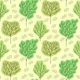 Δασικό άνευ ραφής διανυσματικό σχέδιο δέντρων Στοκ Φωτογραφίες