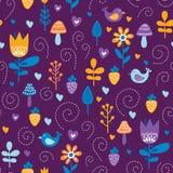Δασικό άνευ ραφής σχέδιο φίλων Υπόβαθρο παιδιών με τα χαριτωμένες πουλιά και τις εγκαταστάσεις στα χρώματα πορφυρός, πορτοκαλής κ απεικόνιση αποθεμάτων