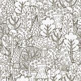 Δασικό άνευ ραφής σχέδιο φαντασίας Γραπτό υπόβαθρο δέντρων Στοκ Εικόνα