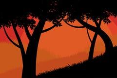 Δασικό διάνυσμα σκηνής δέντρων σκιαγραφιών Στοκ Εικόνες