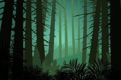 Δασικό διάνυσμα φύσης σκηνής πεύκων Στοκ εικόνες με δικαίωμα ελεύθερης χρήσης