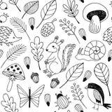 Δασικό διανυσματικό άνευ ραφής σχέδιο ζώων Στοκ εικόνες με δικαίωμα ελεύθερης χρήσης