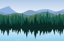 Δασικό πανόραμα λιμνών Στοκ εικόνα με δικαίωμα ελεύθερης χρήσης