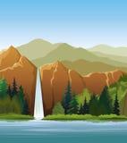 δασικό πράσινο woterfall Απεικόνιση αποθεμάτων