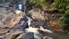Δασικό ρεύμα με τους καταρράκτες που τρέχουν πέρα από τους ομαλούς βράχους στο νησί Pha Ngan στην Ταϊλάνδη φιλμ μικρού μήκους