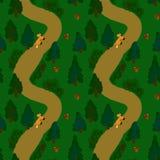 Δασικό σχέδιο Lanshaft E Fir-trees, μούρα, μανιτάρια, αλεπούδες Σχέδιο για το ύφασμα, ταπετσαρία, χαρτικά διανυσματική απεικόνιση