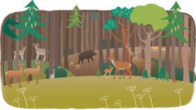 Δασικό σύνολο των ζώων διανυσματική απεικόνιση