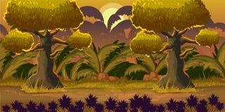 Δασικό τοπίο κινούμενων σχεδίων, διανυσματικό ατελείωτο υπόβαθρο με το έδαφος, οι Μπους, δέντρα και ουρανός, στρώματα, 1024x512 Στοκ Φωτογραφία