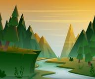 Δασικό τοπίο κινούμενων σχεδίων με τα βουνά, τον ποταμό και fir-trees Υπόβαθρο τοπίου ηλιοβασιλέματος ή ανατολής απεικόνιση αποθεμάτων