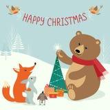 Δασώδης περιοχή Χριστουγέννων απεικόνιση αποθεμάτων