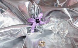 Δαχτυλίδια που τίθενται γαμήλια Στοκ εικόνες με δικαίωμα ελεύθερης χρήσης