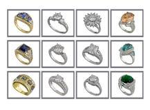δαχτυλίδια συλλογής Στοκ εικόνα με δικαίωμα ελεύθερης χρήσης