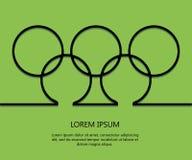Δαχτυλίδια υποβάθρου περιλήψεων με το κείμενο Ολυμπιακό πρότυπο καρτών Brazill 2016 μινιμαλισμός 10 eps διάνυσμα ελεύθερη απεικόνιση δικαιώματος
