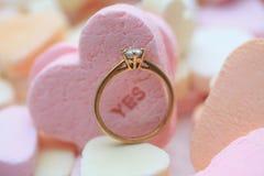 δαχτυλίδι καρδιών διαμαν& Στοκ εικόνες με δικαίωμα ελεύθερης χρήσης
