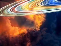 δαχτυλίδι του Κρόνου και καυτό και κρύο σύννεφο σωρών τόνου Στοκ Φωτογραφίες