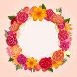 Δαχτυλίδι των ζωηρόχρωμων λουλουδιών στο άσπρο υπόβαθρο ελεύθερη απεικόνιση δικαιώματος