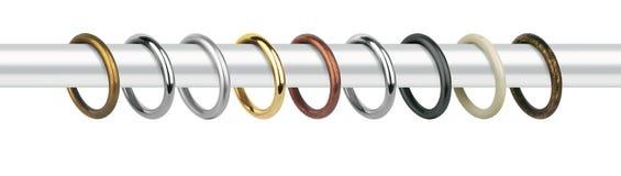 Δαχτυλίδια κουρτινών για τις μαρκίζες Δαχτυλίδια μετάλλων με τους συνδετήρες για τα γείσα Στοκ φωτογραφία με δικαίωμα ελεύθερης χρήσης