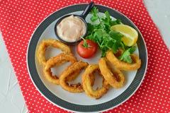 Δαχτυλίδια Calamary που τηγανίζονται με το πικάντικα souce και το rocca Μεσογειακός τρόπος ζωής τρόφιμα υγιή Στοκ φωτογραφίες με δικαίωμα ελεύθερης χρήσης