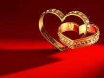 Δαχτυλίδια Heartshaped Στοκ φωτογραφία με δικαίωμα ελεύθερης χρήσης