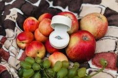 Δαχτυλίδι αρραβώνων σε ένα άσπρο κιβώτιο στοκ φωτογραφία