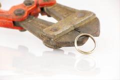 Δαχτυλίδι διαζυγίου breack με τους κόπτες στοκ φωτογραφία με δικαίωμα ελεύθερης χρήσης